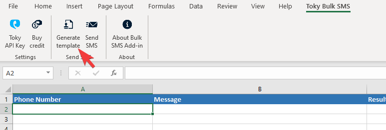 Toky Bulk SMS Add-in Excel template