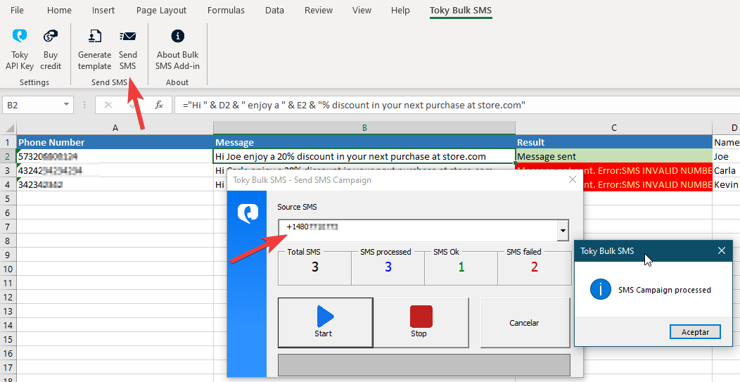 Toky Bulk SMS Add-in Excel SMS campaign